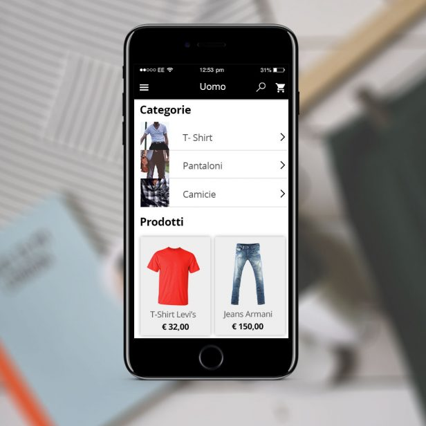 "Schermata ""Categoria"" App eCommerce"